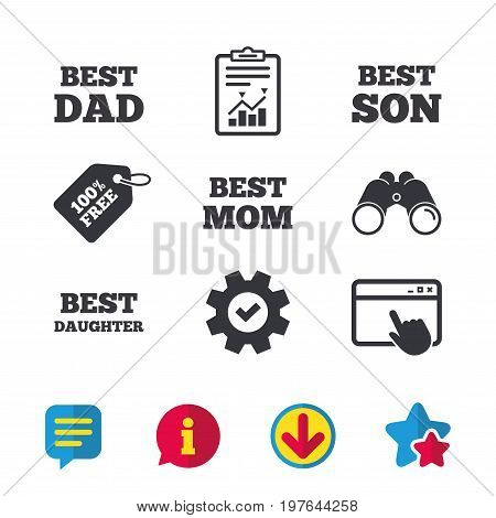 Best mom and dad, son and daughter icons. Award symbols. Browser window, Report and Service signs. Binoculars, Information and Download icons. Stars and Chat. Vector
