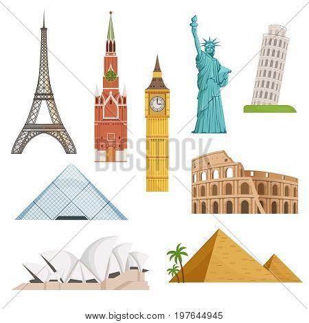 Different world famous symbols set isolate on white. Historical buildings, landmarks. Travel building landmark famous, monument architecture. Vector illustration