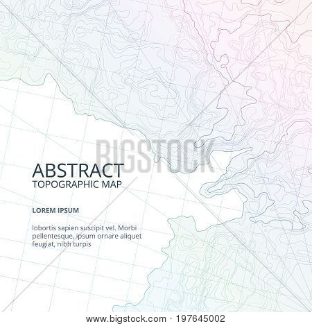 Vector poster design from lines contour topographic map. Abstract hills and different navigation elements. Geography topographic relief map, illustration of terrain topography