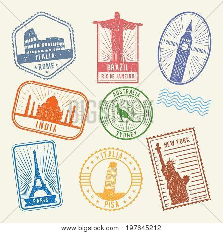Postal stamps with famous world architecture symbols. Vector travel pictures. Stamp with architecture tourism, famous building landmark illustration