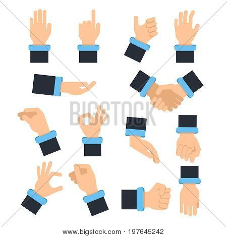 Holding hands in different action poses. Grabbing, taking and other. Vector pictures in flat style finger and hand pose illustration