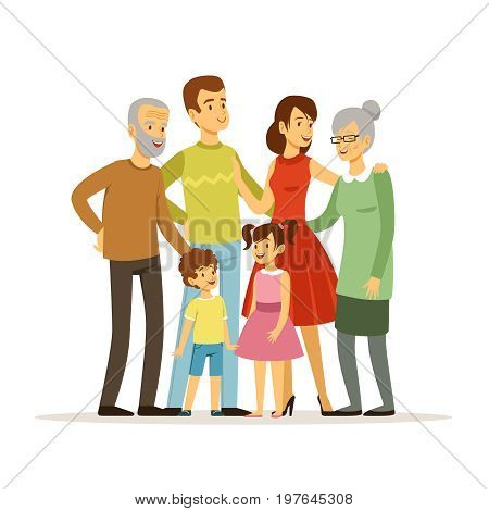 Vector illustration of big family with mother, father, grandmother and grandfather. Smiling peoples standing at action poses. Mother and grandfather grandmother, father and childern