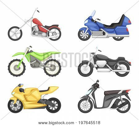 Chopper, cruiser sport bike and others types of motorcycles. Vector illustration set isolate on white background. Motorcycle for motocross, vintage classic scooter