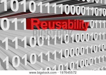 Reusability in the form of binary code, 3D illustration