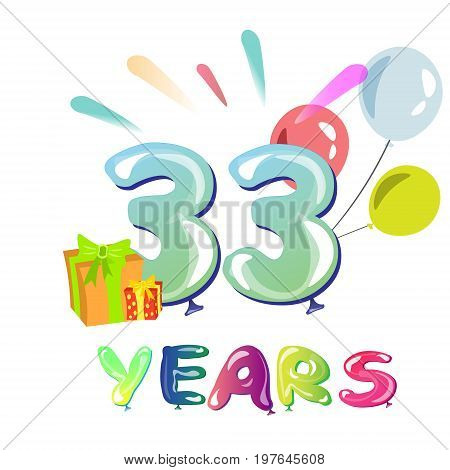 Happy Birthday thirty three 33 year. Vector illustration