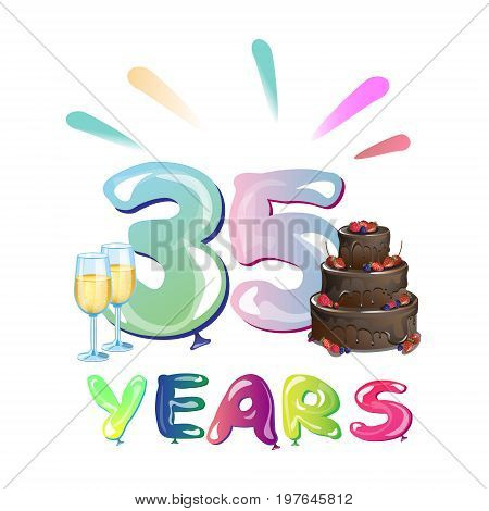 Happy Birthday thirty five year. colorful design.