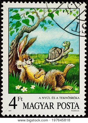 Moscow Russia - July 30 2017: A stamp printed in Hungary shows scene from a fable