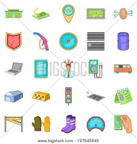 Fixing the machine icons set. Cartoon set of 25 fixing the machine icons for web isolated on white background