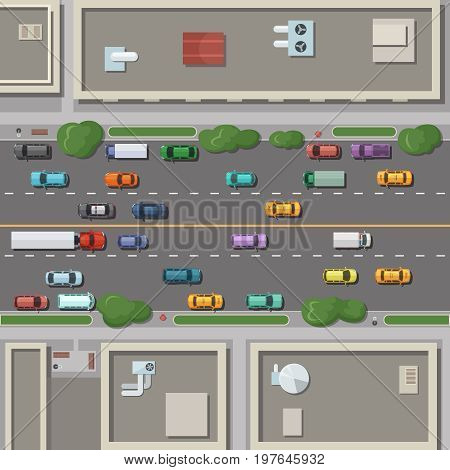 Fragment of city map with roofs, roads and cars on it. Top view vector illustration. Road with traffic car top view