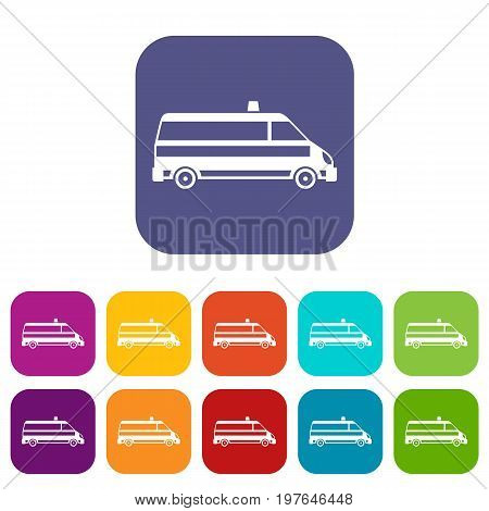 Ambulance car icons set vector illustration in flat style in colors red, blue, green, and other