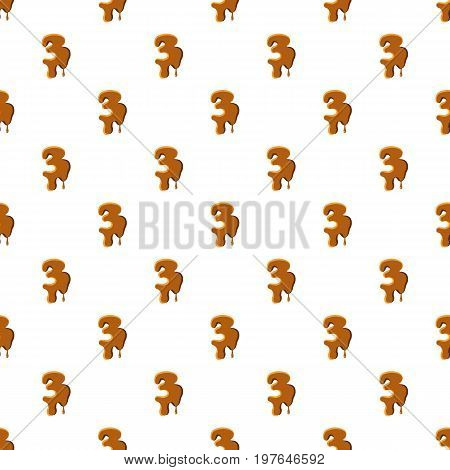 Number 3 from caramel pattern seamless repeat in cartoon style vector illustration