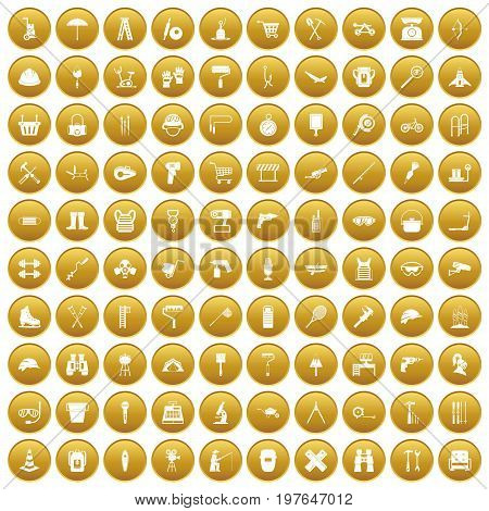 100 tackle icons set in gold circle isolated on white vectr illustration