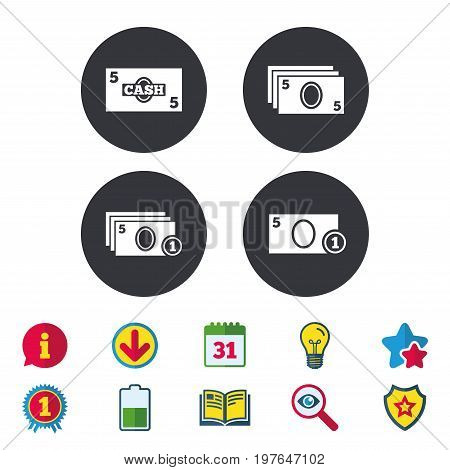 Businessman case icons. Currency with coins sign symbols. Calendar, Information and Download signs. Stars, Award and Book icons. Light bulb, Shield and Search. Vector