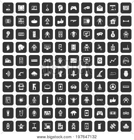 100 robot icons set in black color isolated vector illustration