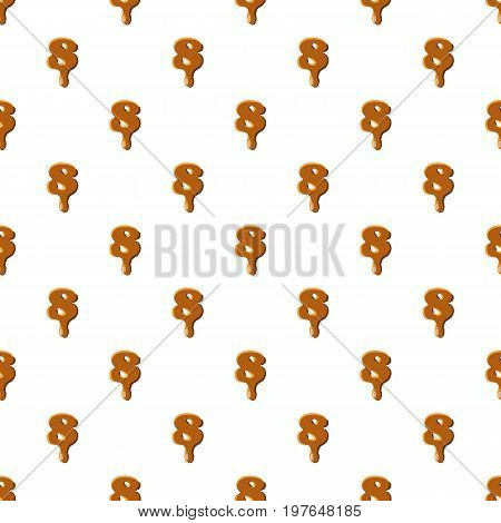 Number 8 from caramel pattern seamless repeat in cartoon style vector illustration