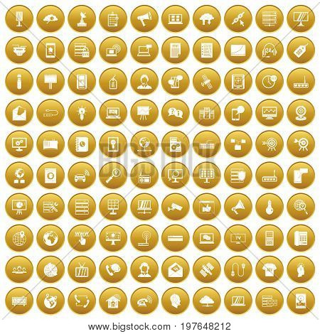 100 telecommunication icons set in gold circle isolated on white vectr illustration