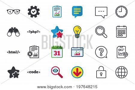 Programmer coder glasses icon. HTML markup language and PHP programming language sign symbols. Chat, Report and Calendar signs. Stars, Statistics and Download icons. Question, Clock and Globe. Vector