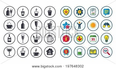Set of Drinks, Beer and Cocktails icons. Coffee, Tea and Alcohol drinks. Wine bottle, Glass and Bar symbols. Calendar, Report and Book signs. Stars, Service and Download icons. Vector