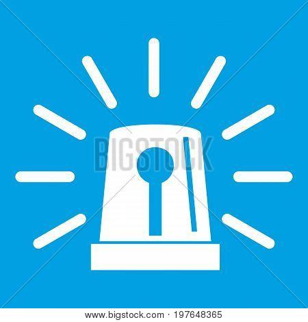 Flashing emergency light icon white isolated on blue background vector illustration