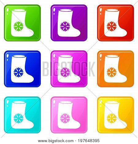 Felt boots icons of 9 color set isolated vector illustration