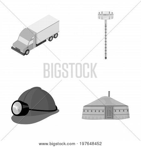 Truck, alcohol meter and other  icon in cartoon style. helmet of a miner, dwelling of the Mongols icons in set collection.