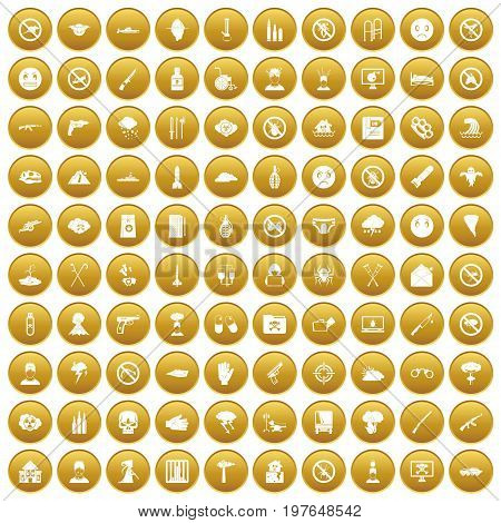 100 tension icons set in gold circle isolated on white vectr illustration