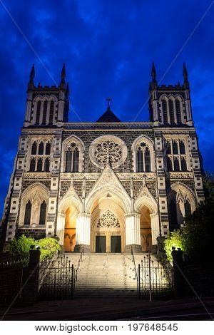 St. Joseph's Cathedral at night Dunedin New Zealand