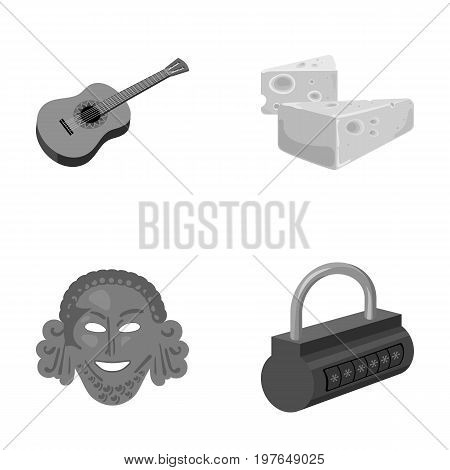 Guitar, cheese and other  icon in cartoon style.Theatrical mask, padlock icons in set collection.