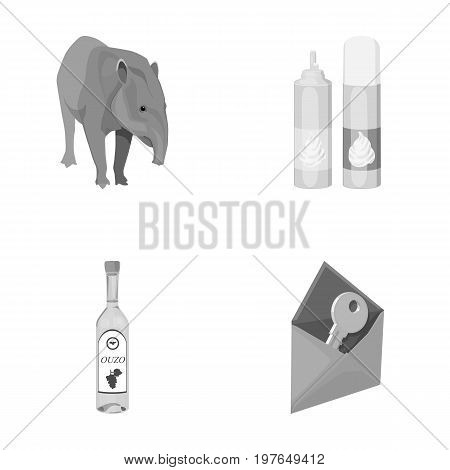Tapir, cream and other  icon in cartoon style. alcohol, key to mail icons in set collection.