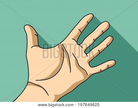 Palm hand flat hand. Color vector illustration. EPS8
