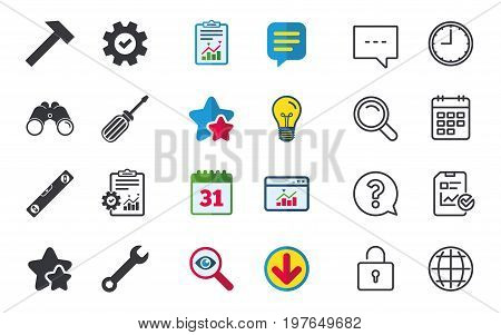 Screwdriver and wrench key tool icons. Bubble level and hammer sign symbols. Chat, Report and Calendar signs. Stars, Statistics and Download icons. Question, Clock and Globe. Vector