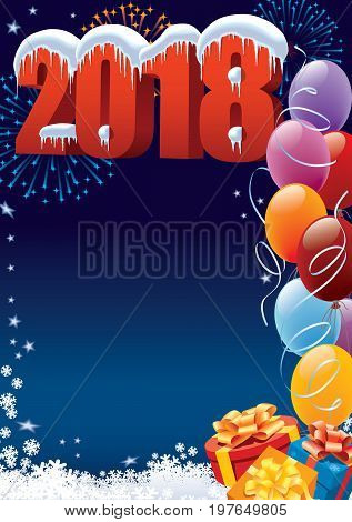 New Year 2018 decoration with copy space for your message
