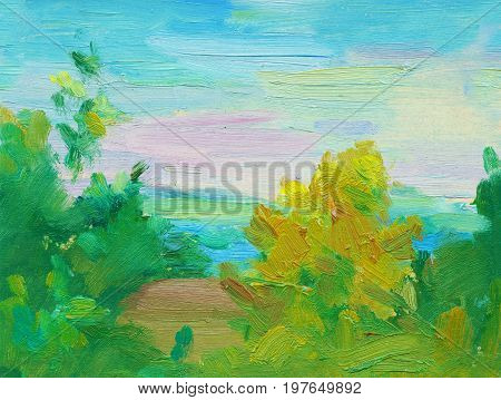 An oil painting on canvas of a colorful expressive sunset landscape over the river. Blue sky with pink, red, orange and yellow hues reflecting in the water surface.