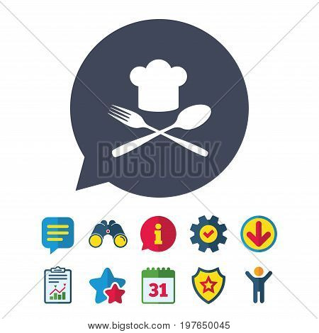 Chef hat sign icon. Cooking symbol. Cooks hat with fork and spoon. Information, Report and Speech bubble signs. Binoculars, Service and Download, Stars icons. Vector