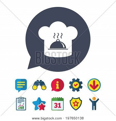 Chef hat sign icon. Cooking symbol. Cooks hat with hot dish. Information, Report and Speech bubble signs. Binoculars, Service and Download, Stars icons. Vector