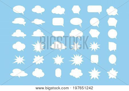 Speech bubbles set. White speech clouds on blue background.