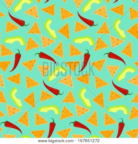 Bright seamless pattern with nachos avocado and chili pepper on blue background. Nice mexican fastfood texture for textile wallpaper background cover banner bar and cafe menu design