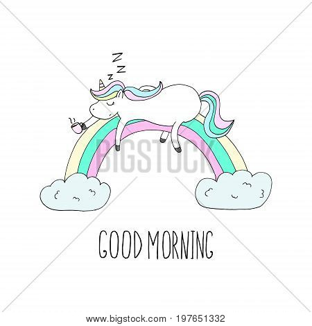 Good morning card. Cute Unicorn Unicorn asleep on the rainbow with coffee. Printable templates.
