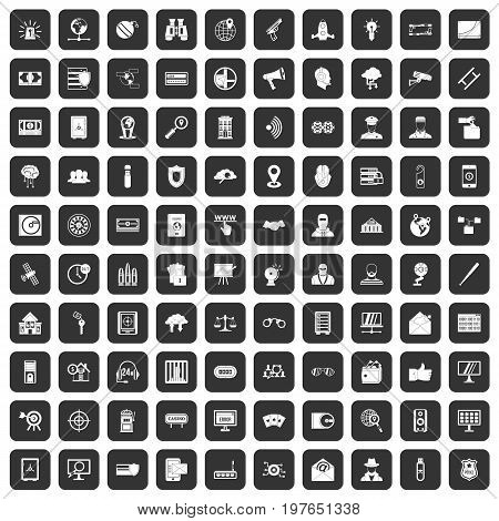 100 security icons set in black color isolated vector illustration