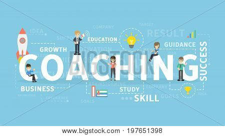 Coaching concept illustration. Idea of strategy, skills and improvement.