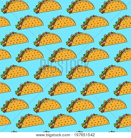 Bright mexican fastfood seamless pattern with tacos on blue background. Nice spanish fast food texture for textile wallpaper background cover banner bar and cafe menu design