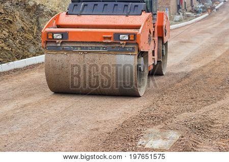 Road Roller During Leveling And Compacting 2