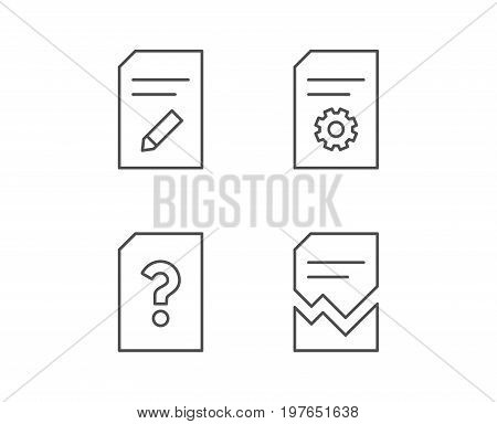 Document, Edit and Corrupt file line icons. Document Management, Question mark and Service signs. Quality design elements. Editable stroke. Vector