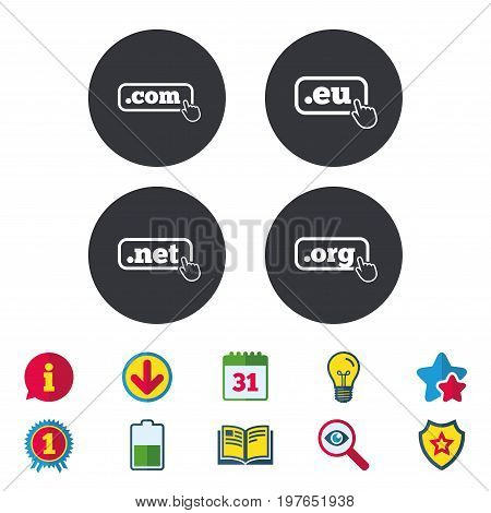 Top-level internet domain icons. Com, Eu, Net and Org symbols with hand pointer. Unique DNS names. Calendar, Information and Download signs. Stars, Award and Book icons. Light bulb, Shield and Search