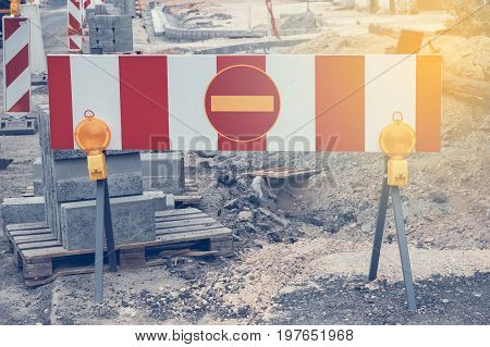 Road Under Construction With Warning Signs 3