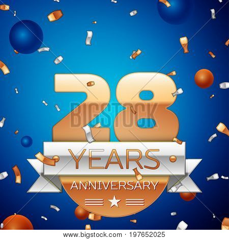 Realistic Twenty eight Years Anniversary Celebration Design. Golden numbers and silver ribbon, confetti on blue background. Colorful Vector template elements for your birthday party