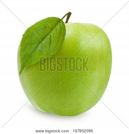 Green apple with leaf isolated over white