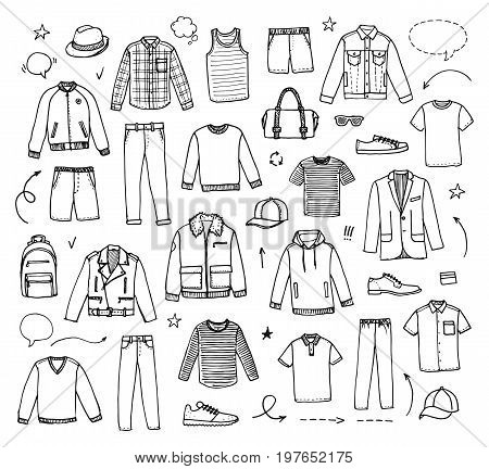 Hand drawn Men's Clothing. Vector illustration on white background. Doodle set
