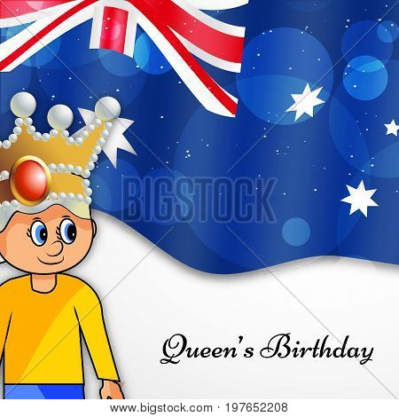 illustration of a girl on Australia flag background with Queen's Birthday text on the occasion of Queen's Birthday