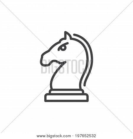 Horse, Knight piece in chess game line icon, outline vector sign, linear style pictogram isolated on white. Strategy symbol, logo illustration. Editable stroke. Pixel perfect vector graphics
